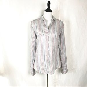 Frank and Eileen Barry top Striped Linen Multi